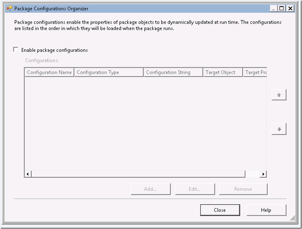 SSIS 2012 – Package Configurations Menu Option Missing – The Data Queen